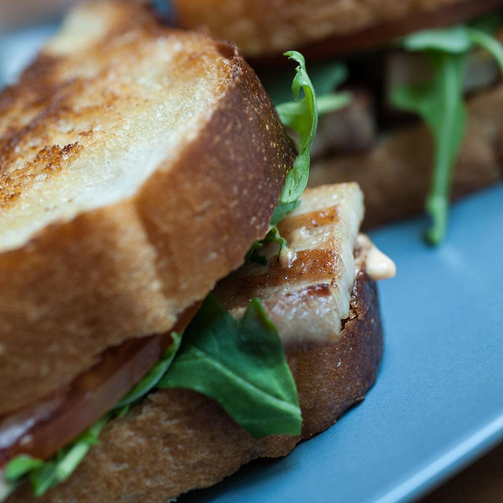 Dime Store's PBLT (Pork Belly Lettuce Tomato) Sandwich