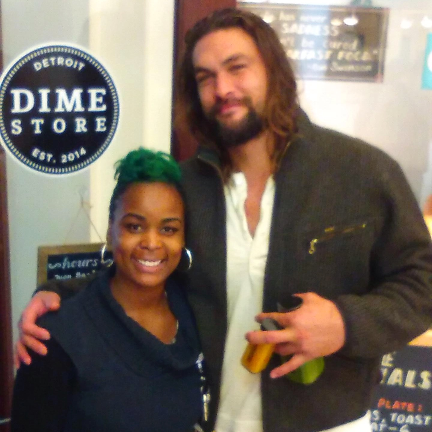 Jason Momoa, pka Khal Drogo, eats at Dime Store