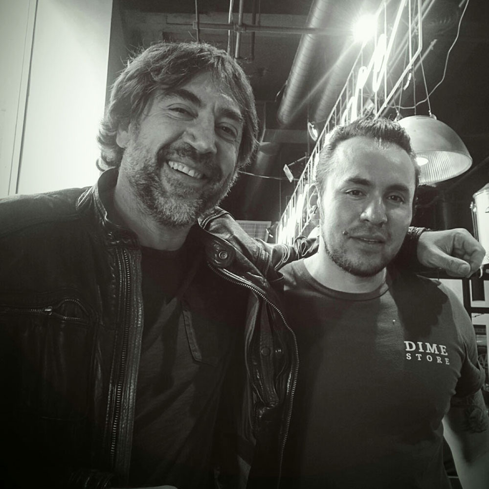 Javier Bardem Dines at Dime Store