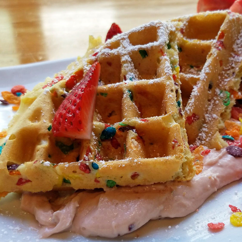 Dime Store Detroit Brunch Restaurant Strawberry Rainbow Waffle