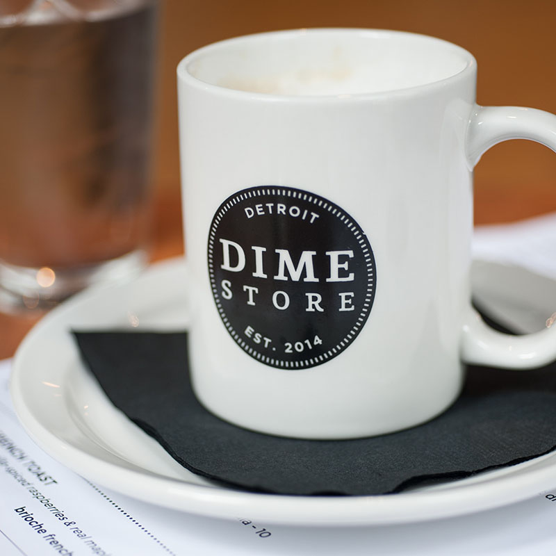 Dime Store Detroit Brunch Restaurant Coffee Mug | Photo by Yana Benjamin