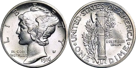 Mercury Dime Heads and Tails