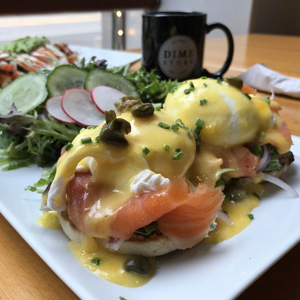 Smoked Salmon Eggs Benedict at Dime Store Detroit Brunch Restaurant