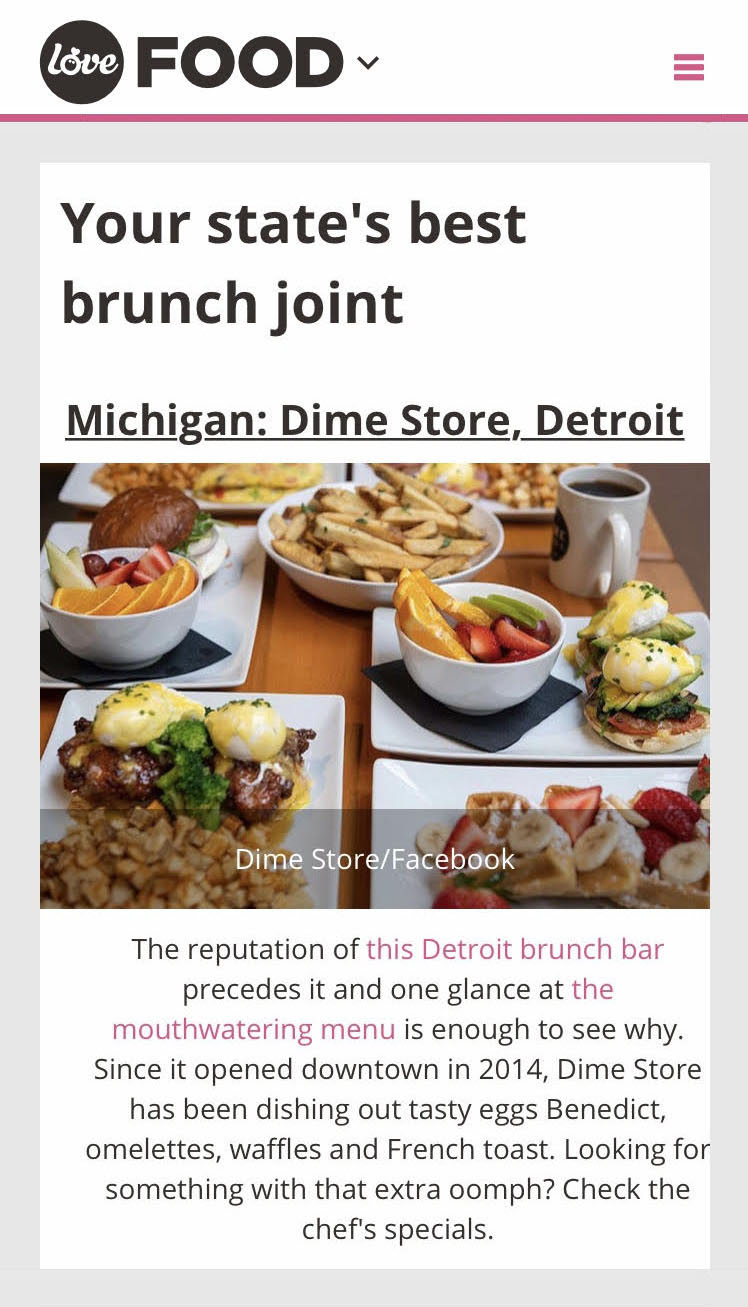 Dime Store is the Best Brunch in Michigan, According to LoveFood.com